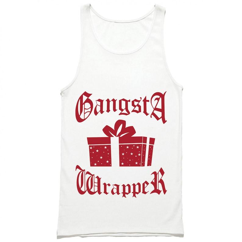 Funny Christmas Tank Tops.Gangsta Wrapper Tank Top Funny Christmas Tank Tops Christmas Party Tank Gangster Wrapper Shirt Xmas Holiday Unisex Mens Womens Tanks