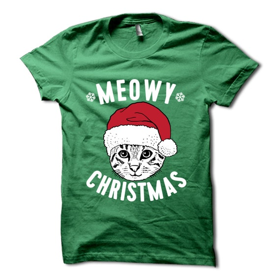 20094c48f Meowy Christmas T Shirt Funny Christmas Shirt Merry | Etsy