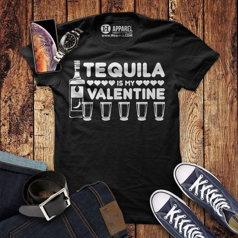 a56d2a41c0 Tequila is My Valentine Shirt Funny Valentines Day Party | Etsy