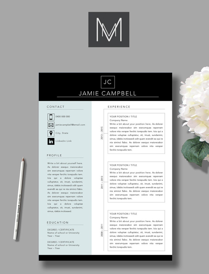 2 Page Resume Template Cover Letter MS Word Template A4 | Etsy