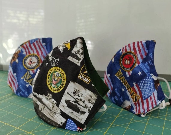 Military Face Mask 100% cotton washable adjustable elastic ear loops Kids Teens Adult MADE in the USA