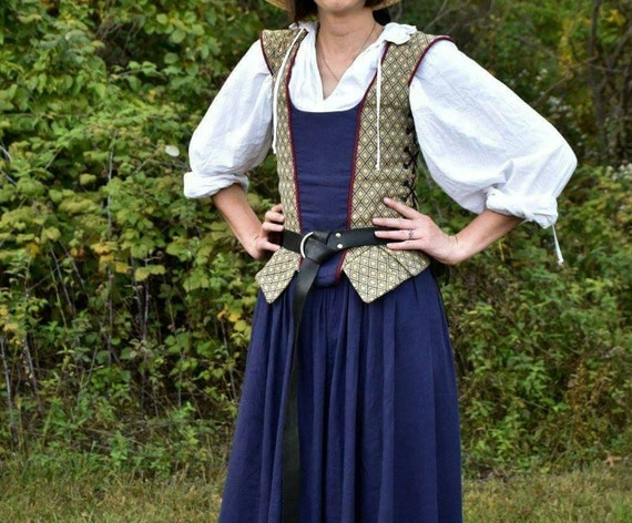 Renaissance Middle Class Dress skirts side lacing bodice shirt SCA LARP Cosplay costume - Made to Order