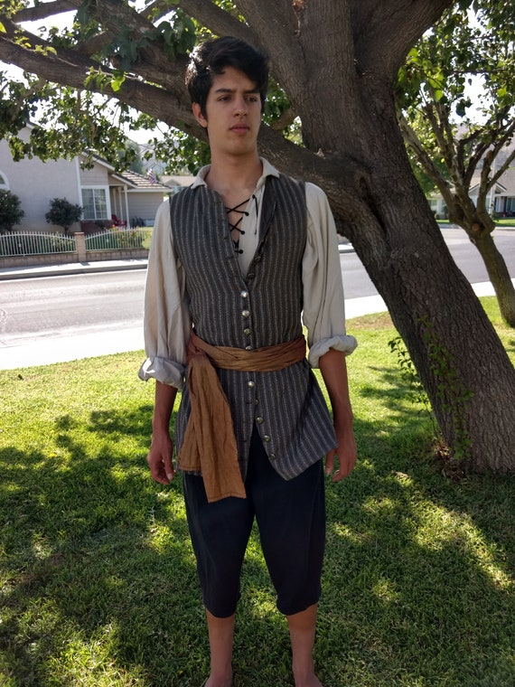 Pirate costume shirt pants vest sash Renaissance Steampunk Cosplay mens womens