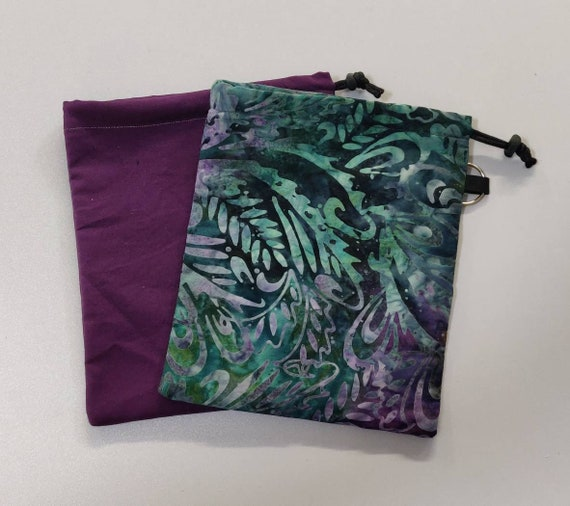 Watercolors Face Mask Storage bags Tie-Dye Prints Dragonflies Peacock Feathers drawstring multi pockets customizable personalize it