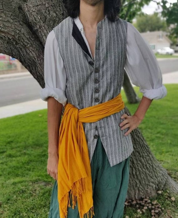 Pirate Vest long back Mens cosplay Renaissance Steampunk SCA LARP Colonial