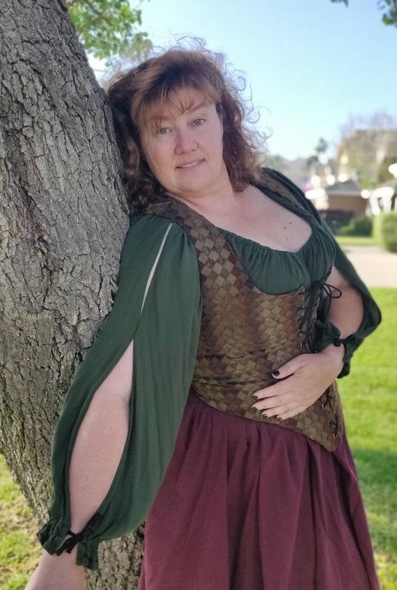Peasant shirt Slit Sleeves Fairy Cosplay LARP Renaissance