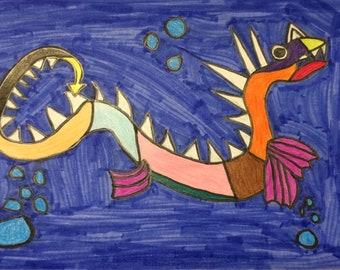 Sea Dragon OOAK drawing