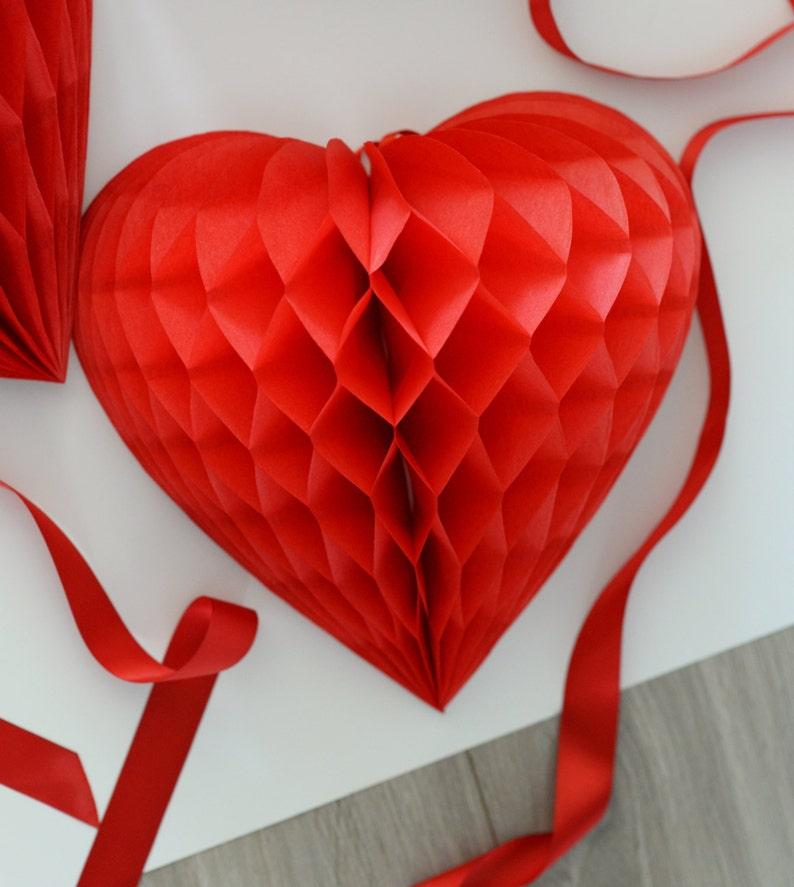 Vintage style heart shaped honeycomb decoration  hanging decoration  valentine  party decorations  wedding decorations  backdropp