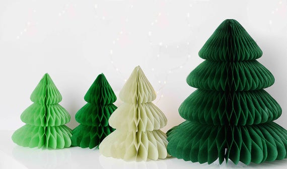 image 0 - Christmas Tree Paper Honeycomb Decoration / Hanging Etsy