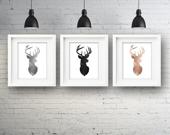 Set of 3 Brushed Metal Stag Heads PRINTABLE Wall Art Bedroom Lounge Poster Print Copper Silver Black Antler Antlers Instant Digital Download