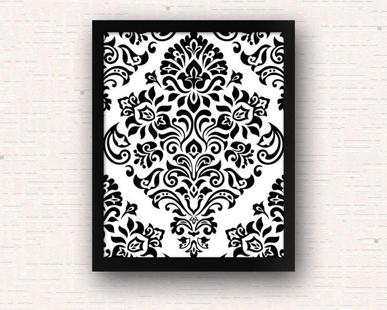 Art Deco Retro Black White Pattern Printable Wall Art Modern Etsy