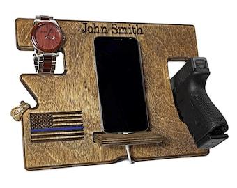 Police Officer Gift, Wooden Pistol Holder, Nightstand Organizer, Law Enforcement Gift, Gift for Men, Wooden Gun Holder