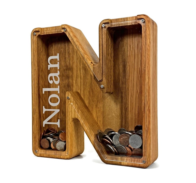 Personalized Boys Piggy Bank Wood Gift For Kids Neutral Baby image 1