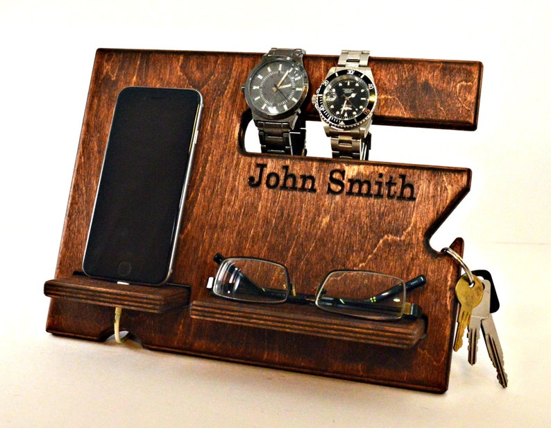 a73417a20d01 Mens Gift Nightstand Organizer Wood Docking Station