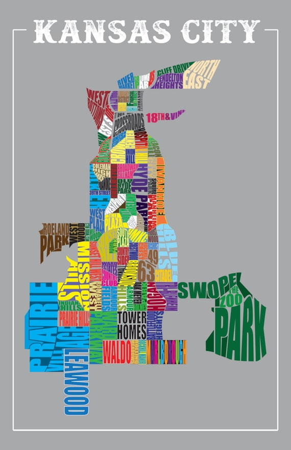 Kansas City Neighborhood Map | Etsy