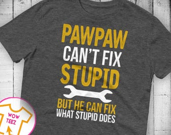 Pawpaw Can't Fix Stupid Shirt Funny Pawpaw T-Shirt Gift for Pawpaw Gift for Him Christmas Gift Pawpaw Father's Day Gift