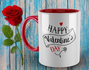 Happy Valentines Day Mug - Gift for Husband, Mug for Wife, Valentine Girlfriend, Valentines Boyfriend, Fiance Gift.  I Love You Mug