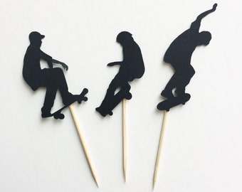 12pc Skateboarder silhouette cupcake toppers, Skateboard silhouette cupcake toppers, skateboarders skateboards cupcake toppers food picks