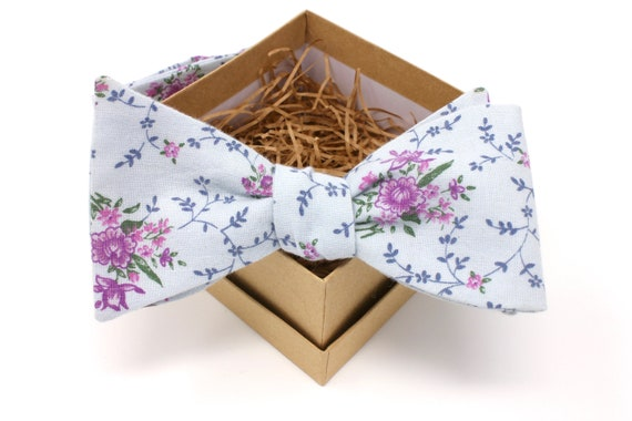 Self-tie Bow tie Lavender Bow tie Purple Violets with Mint Green Leaves