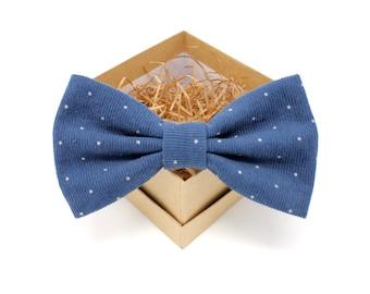 Blue Corduroy Bow Tie - Mens Corduroy Pre-Tied Bow Tie - Womens Pre-Tied Bow Tie - Navy Pin Dot Bow Tie - Blue Polka Dot Bow Tie Groomsmen