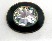Vintage Abalone Mother of Pearl Flower Brooch-Alpaca Mexico