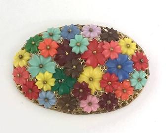 Vintage Plastic Rosette Brooch