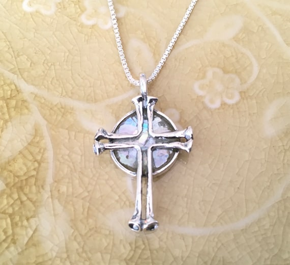 """18/"""" Round Ancient Roman Glass with Cross Necklace Pendant Charm Sterling Silver"""