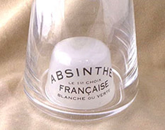 Absinthe Caraf, Replica absinthe cafe caraf, funky absinthe decanter, glass absinthe water container, imprinted absinthe caraf