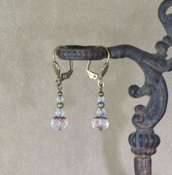 Stocking Stuffer: Holiday earrings, Swarovski ab coated crystal earrings, affordable gift, Yankee swap gift, Steampunk Christmas earring