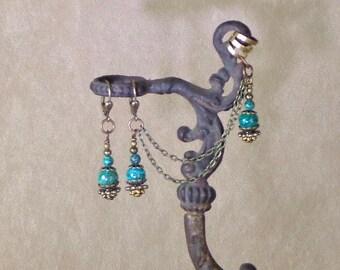 Amazonite ear cuff and earring set, stone and brass earrings, antiqued brass earrings with stone beads, steampunk ear cuffs, stone ear cuffs