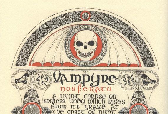 Vampyre (2002) giclee print, Celtic print of Vampyre legend, Vampire illumination, traditional Celtic, print of art by Marcel R. Dion