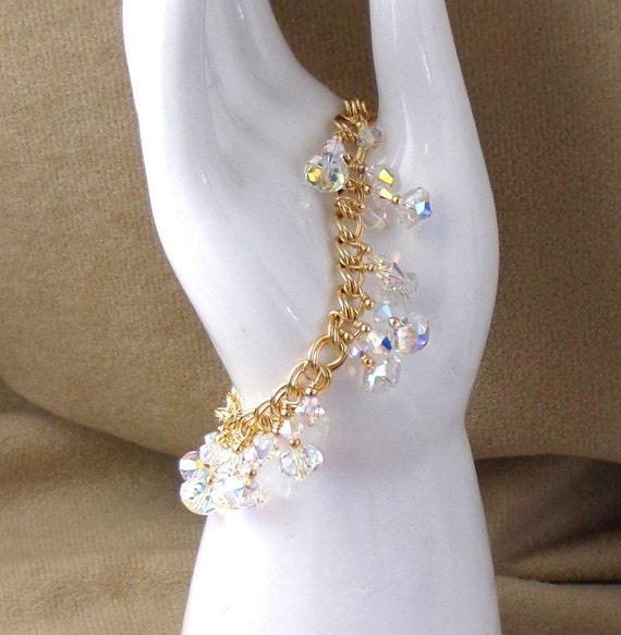Swarovski Clear AB Coated Bracelet, Gold Filled Charm-style Bracelet, Gold Fill Crystal Bracelet, Sparkly Crystal Bracelet, Handmade