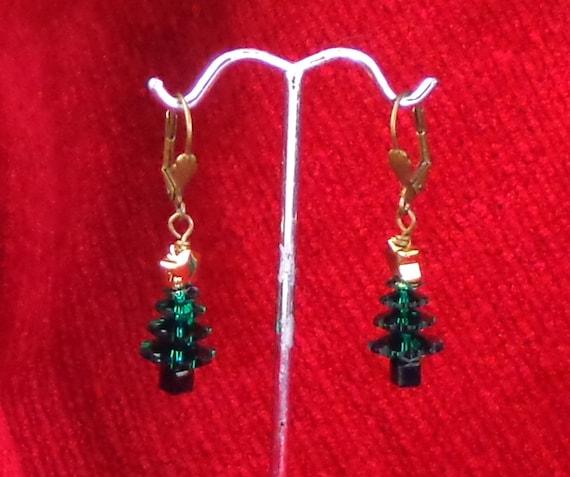 GIFT IDEA: Holiday earrings, Christmas trees, Swarovski crystal gift earrings, affordable gift, Yankee swap gift, Christmas earrings