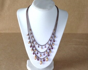 Antiqued Brass and Swarovski Necklace, Handmade Chain and Crystal necklace, Edwardian style necklace, amethyst, gold and brass necklace