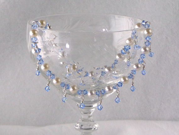 Something Blue Bridal Anklet, white pearl and blue crystal anklet, classic Swarovski crystal anklet, pearls with blue dangles anklet