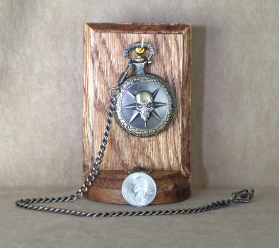 Gift for Him: Pirate Pocket Watch Stand with Skull Pocket Watch, quartz watch with stand, watch stand for his desk, holiday gift, pirates
