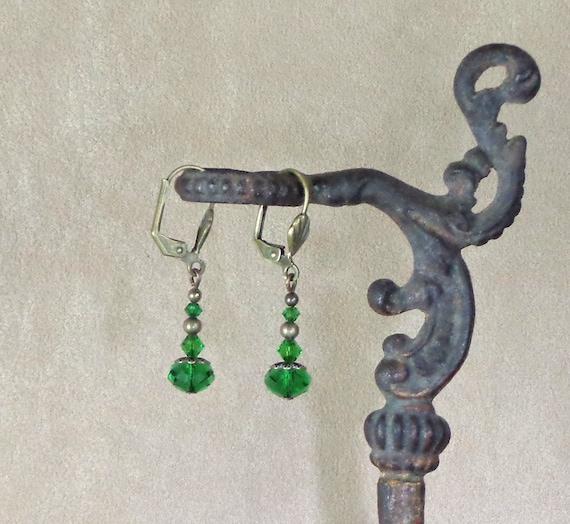 Stocking Stuffer: Holiday earrings, Swarovski fern green crystal earrings, affordable gift, Yankee swap gift, Steampunk Christmas earring