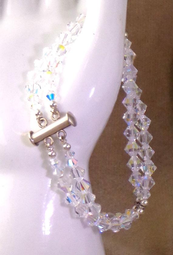Crystal Bracelet Swarovski Clear AB Coated, 2-Strand Bracelet, Brides Crystal Bracelet, Sparkly Bracelet, Clear Rainbow Bracelet