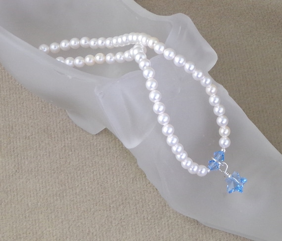 Something Blue Bridal Anklet, Swarovski Pearl and Crystal Anklet, wedding ankle bracelet, pearl brides anklet with tiny blue star