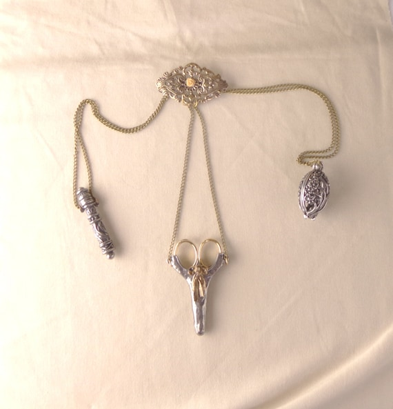 Reproduction Chatelaine, functional sewing chatelaine tools, Victorian sewing brooch, steampunk chatelaine pin