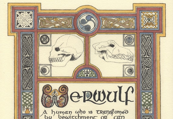 Werewulf (2004) giclee print, Celtic print of Werewolf legend, Werewolf illumination, traditional Celtic, print of art by Marcel R. Dion