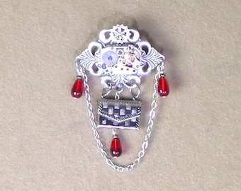 Clockwork Brooch, steampunk pin, clock parts jewelry, secret compartment clock brooch in steampunk style, red crystal watch work pin