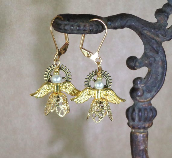Stocking Stuffer: Holiday earrings, steampunk angels, angel gift earrings, affordable gift, Yankee swap gift, Steampunk Christmas earring
