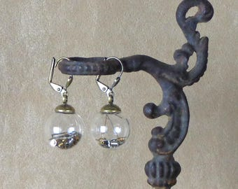 Glass Globe Earrings with watch parts, glass earrings, antiqued brass earrings with watch parts, steampunk earrings with watch parts
