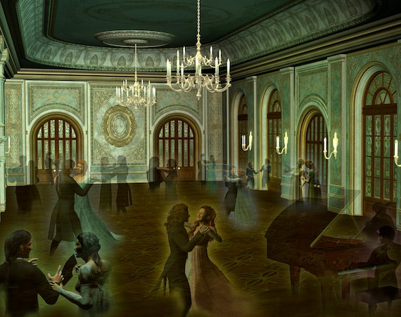 Giclee print The Timeless Dance, print of a ghostly ballroom, ghost dancers waltzing in a ballroom, print of art by Alison Sheehan