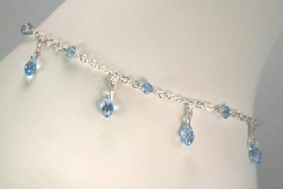 ONLY A FEW LEFT! Blue teardrop anklet, blue crystal anklet, classic Swarovski blue crystal anklet, tear drop blue anklet, blue dangle anklet