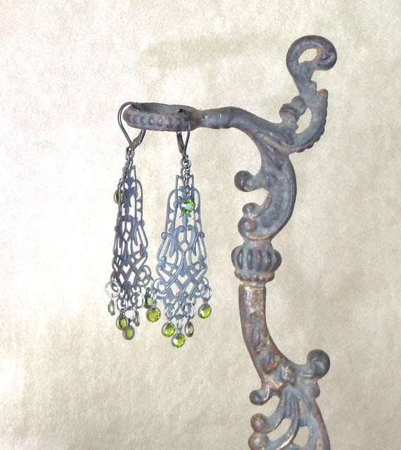 Steampunk earrings, Filigree iron earrings with green crystal drops, handmade steampunk earrings, steel and crystal earrings, Edwardian