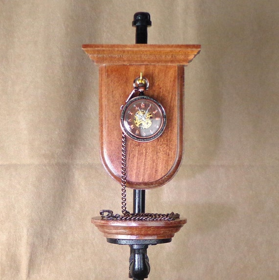 Gift for Him: Steampunk Pocket Watch Stand with Manual Wind Pocket Watch, watch with stand, watch stand for his desk, holiday gift