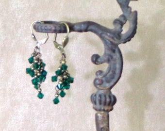 Swarovski Emerald Green 'Fountain' Earrings Brass, Bridesmaid Earrings, Green Earrings in Swarovski crystal, crystal cluster earrings