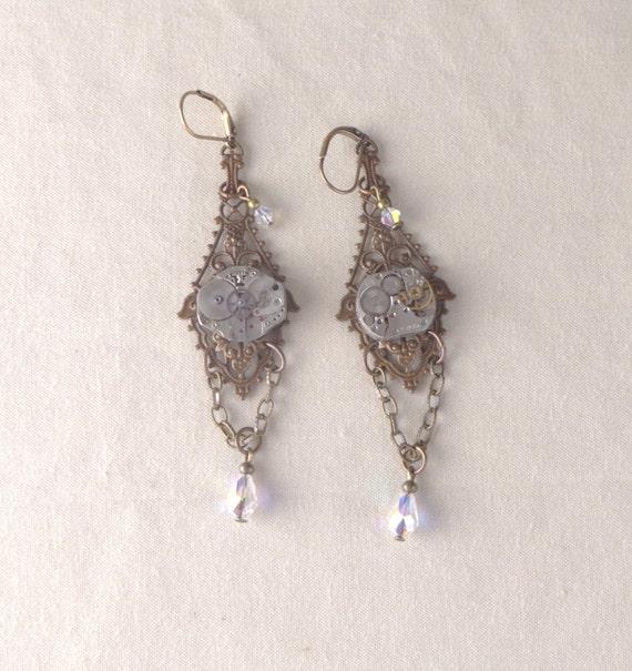 Clockwork Earrings, Swarovski Clear AB Earrings, Antiqued Brass sparkly earrings, Long Drop Steampunk Earrings, Neo-Victorian earrings